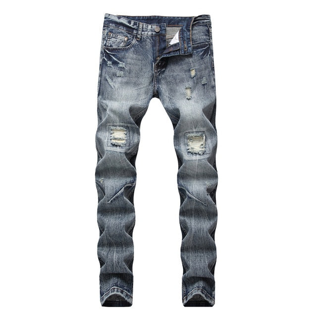 Blue Grey Denim Simple Distressed Style Men Straight Jeans - FanFreakz