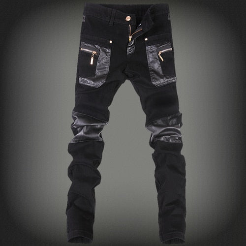Black Slim Fit Pu Leather Patchwork Skinny Pencil Style Men Jeans