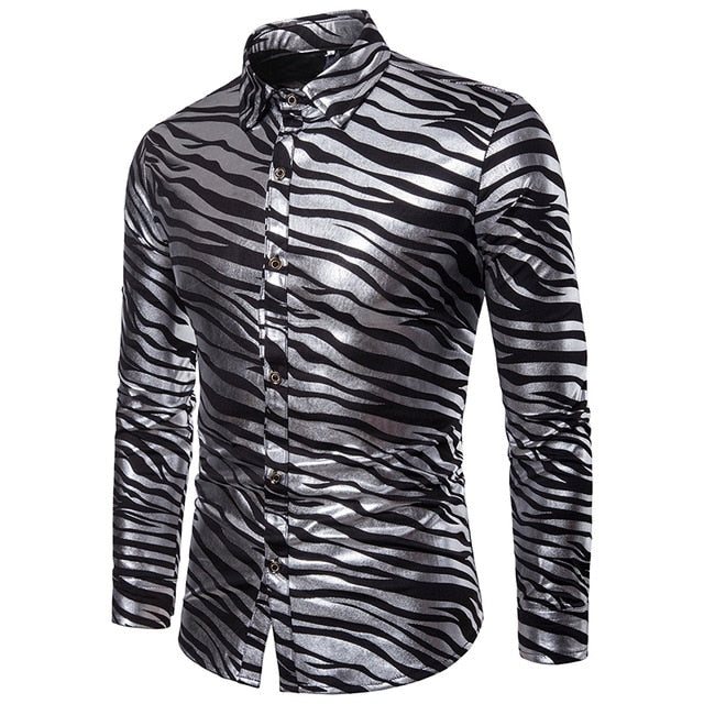 Zebra Pattern Shinny Print Men Long Sleeves Shirt