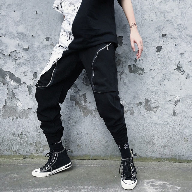 Casual Streetwear Hip Hop Dancing with Oblique Zipper Design Men Pant - FanFreakz