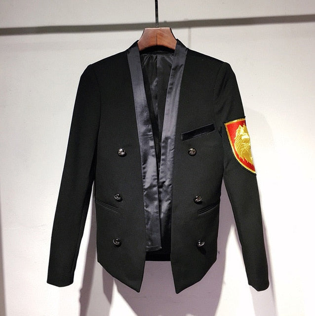 Black with Red Yellow Embroidery Badge Detail Men Blazer - FanFreakz