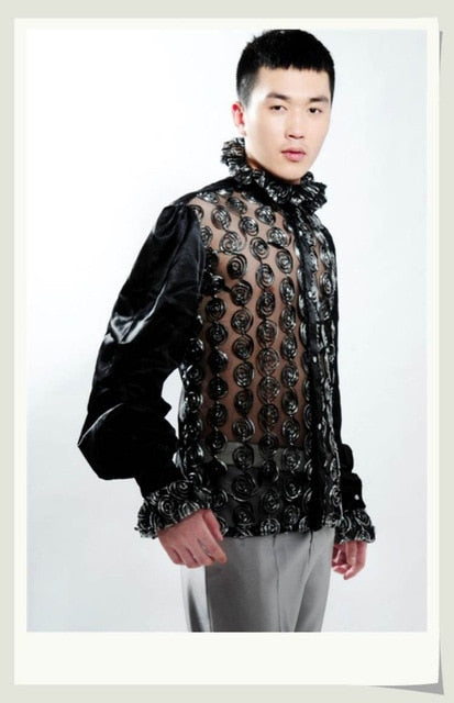 Sexy See Through Twirl Pattern Costume Design Men Shirt