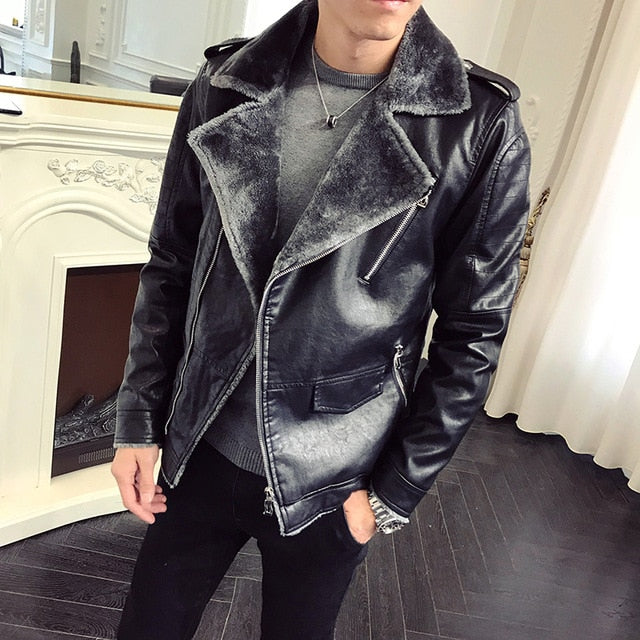 Black and Grey Warm Winter Casual Men Leather Jacket - FanFreakz