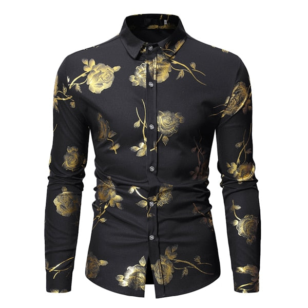 Luxury Gold Floral Bronzing Print Men Dress Shirt