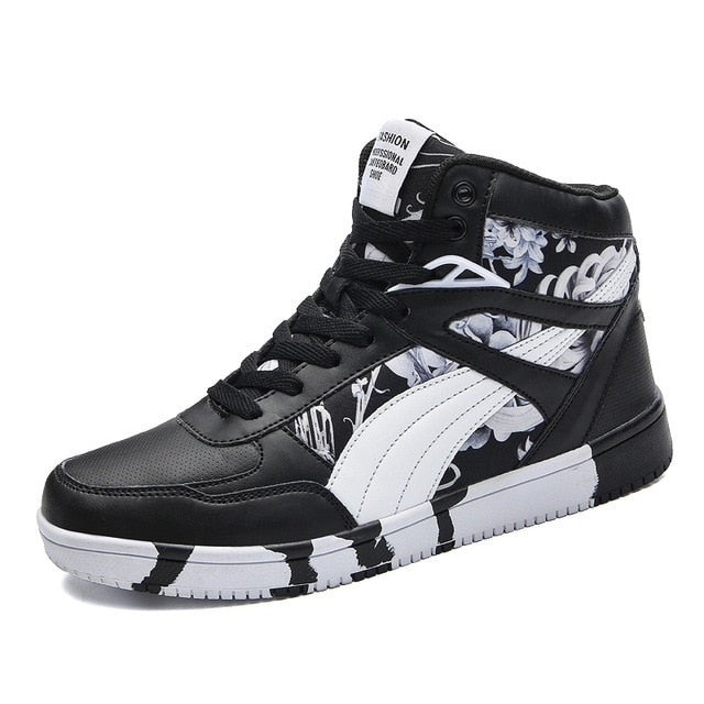 Casual with Floral Print Luxury Men Ankle Sneaker - FanFreakz