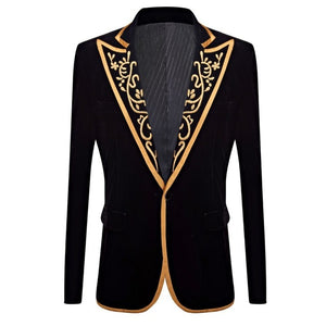 Gold Embroidery Peak Collar Lapel Men Black Velvet Blazer