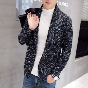 Knitted Classic Marble Casual Style Men Cardigan