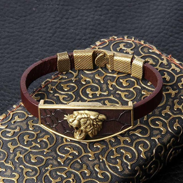 Animal Design Geometric Bronze Wristband Men Bracelet