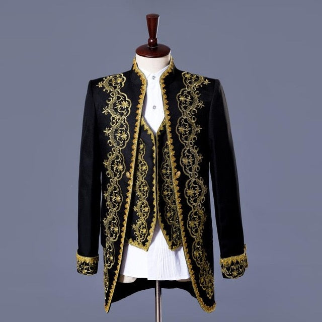 White or Black with Classic Gold Embroidery Three Pieces Set Design Men Costume Suits