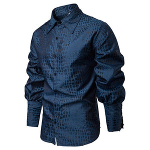 Casual Long Sleeves with Textured Print Men Shirt - FanFreakz