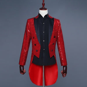Splendid Sequin Tuxedo Costume Style Men Slim Blazer