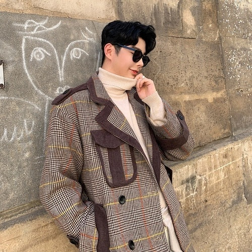 Plaid Splice Double Breasted Long Vintage Style Men Coat