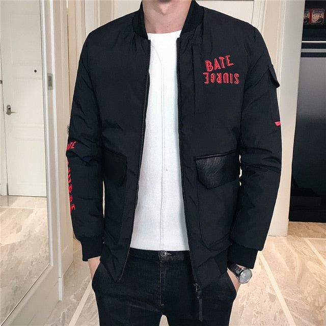 Multi Pockets with Simple Letter Detail Men Flight Bomber Jacket