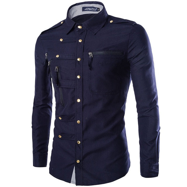 Casual Multi Buttons with Zipper Pocket Detail Men Long Sleeve Shirt - FanFreakz