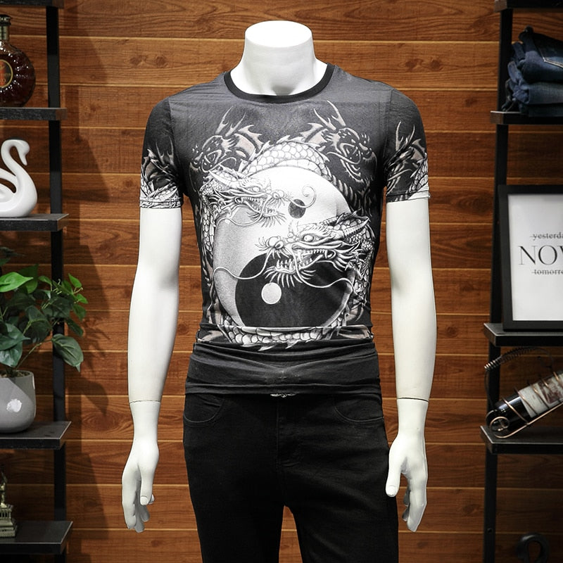 Double Dragons Chinese Style Printing Men T-Shirt