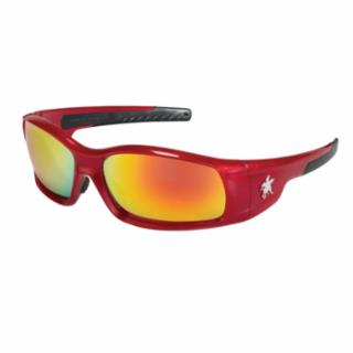 Swagger Safety Glasses, Fire Mirror Lens, Duramass Hard Coat, Red Frame  by Outlaw Leather