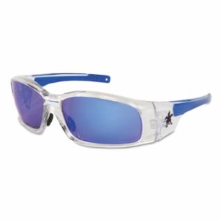Swagger Safety Glasses, Blue Diamond Mirror Lens, Duramass HC, Clear Frame  by Outlaw Leather
