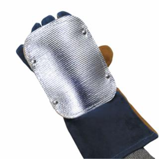 Back Hand Pad, Double Layer, 7 in L, Elastic/High-Temp Kevlar® Strap Closure, Silver  by Outlaw Leather