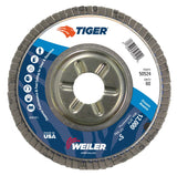 "Weiler 50524 Tiger Abrasive Flap Disc, Type 29, Round Hole, Aluminum Backing, Zirconia Alumina, 5"" Dia., 60 Grit  by Outlaw Leather"