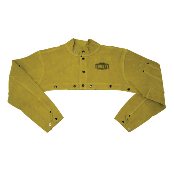 "Ironcat Leather Cape Sleeves, 10 3/4"", Anodized Snaps, Medium, Golden Yellow  by Outlaw Leather."