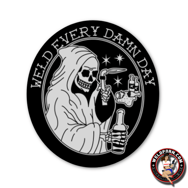 GRIM REAPER BRUSHED ALLOY STICKER  by Outlaw Leather.