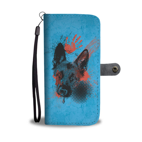 German Shepherd Trash Polka Tattoo Style - Wallet Phone Case