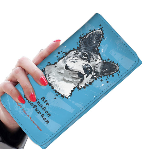 Sir Winston Wooferton SNAFU Rescue - Paint Art Blue Edition - Women's Wallet Purse