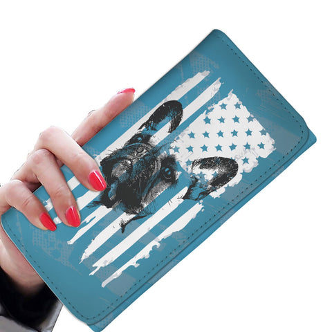 Patriotic USA Flag French Bulldog Blue Edition - Women's Wallet Purse