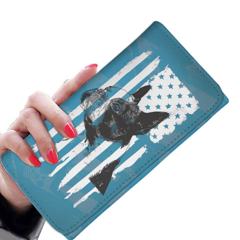 Patriotic USA Flag Boston Terrier Blue Edition - Women's Wallet Purse
