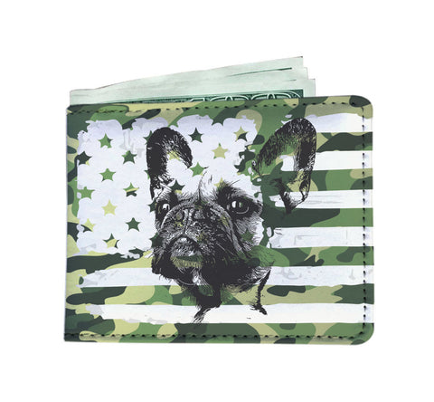 Patriotic USA Flag French Bulldog Camo Edition - Men's Wallet