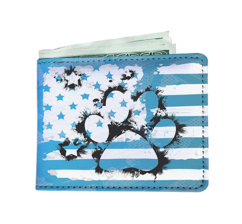 Patriotic USA Flag Dog Paw Blue Edition - Men's Wallet