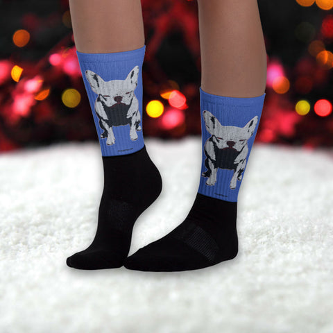 Apple Appolonia The Frenchie Halftone Vintage Unisex Fashion Black Foot Socks - Color Blue