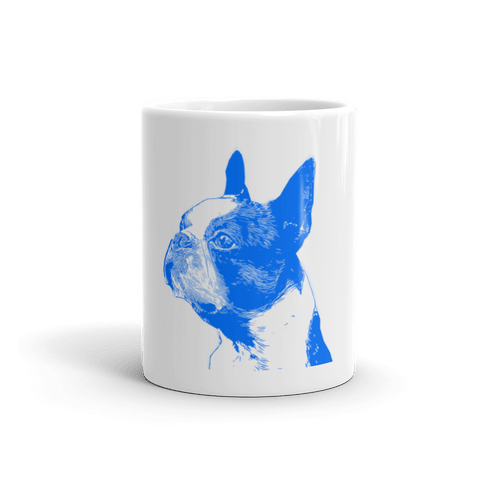 Boston Terrier Duotone Comic Blue 11oz Mug - Front View