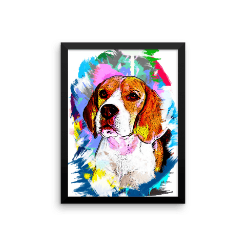 Beagle Artistic Photo Art Framed Poster 12x16