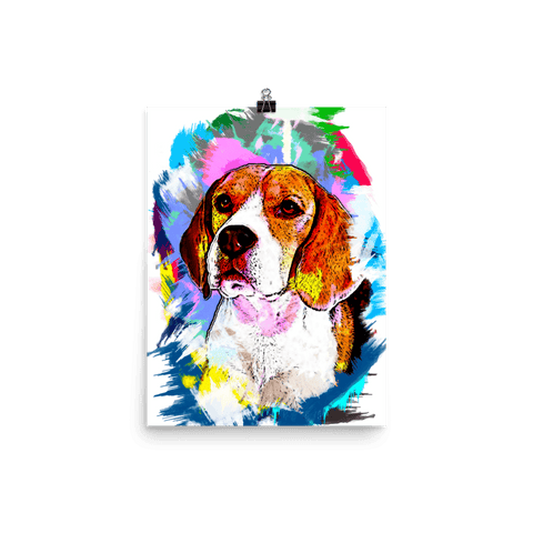 Beagle Artistic Photo Art Poster 12x16