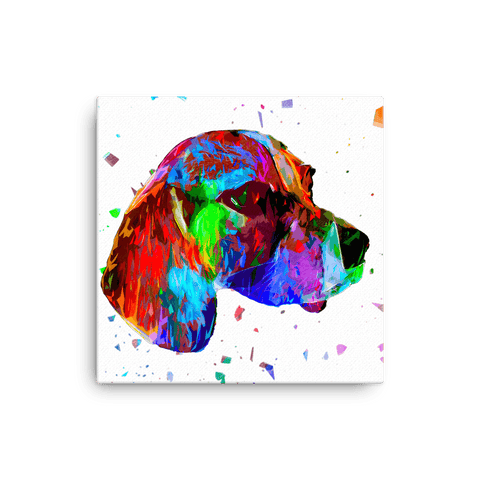 Beagle Colorful Low Poly Canvas 12x12