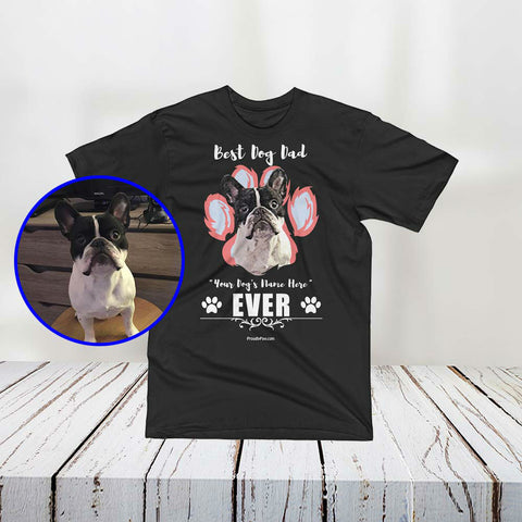 Best Dog Dad Personalized Men Unisex T-Shirt - Custom Paint Art With Your Dog's Name LA Apparel Made in USA Mascot Nono Jr The Frenchie Example Black Color