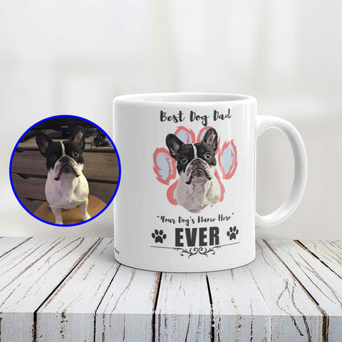 Best Dog Dad Personalized Ceramic Mug of Your Pet - Custom Paint Art