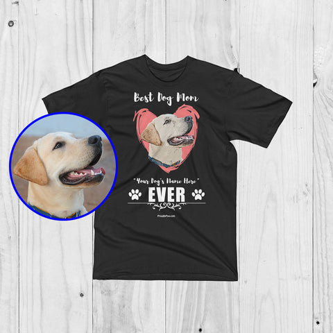 Best Dog Mom Personalized Men Unisex T-Shirt - Custom Paint Art With Your Dog's Name- Los Angeles Apparel Labrador Example Black Color