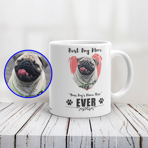 Best Dog Mom Personalized Ceramic Mug of Your Pet - Custom Paint Art