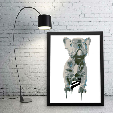 Blue Frenchie Celebration - Framed poster