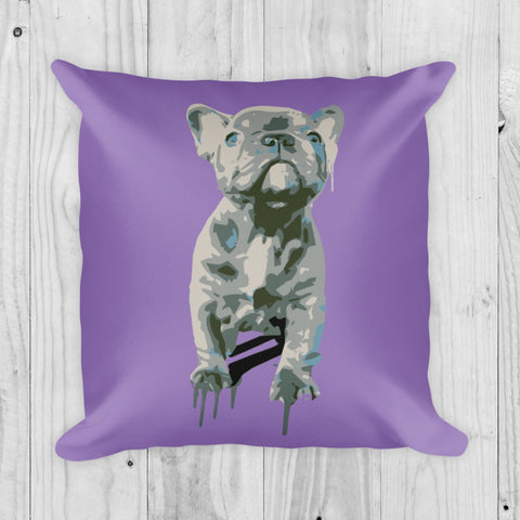 Blue Frenchie Celebration - Square Pillow