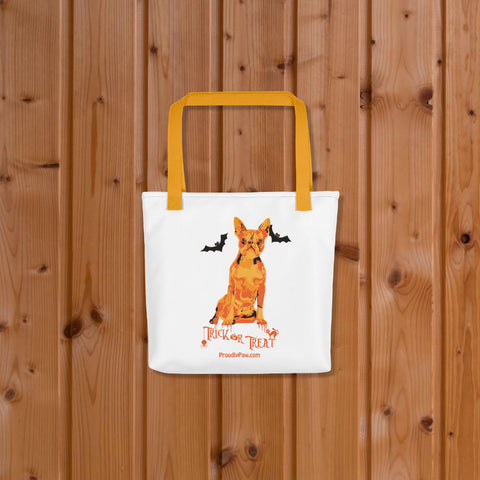 Boston Terrier Halloween Tote Bag Yellow Handle On Wood Floor Mockup