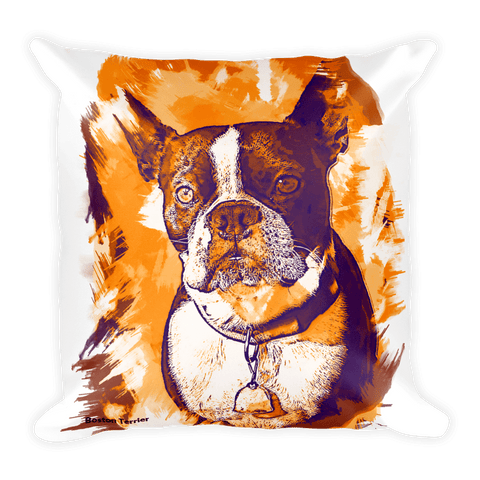 Boston Terrier Artistic Photo Art Decorative Pillow - Autumn - Front View