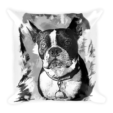 Boston Terrier Artistic Photo Art Decorative Pillow - B&W - Front View