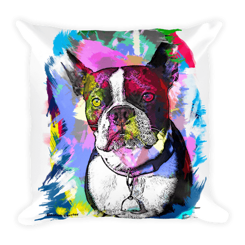 Boston Terrier Artistic Photo Art Decorative Pillow - Front View