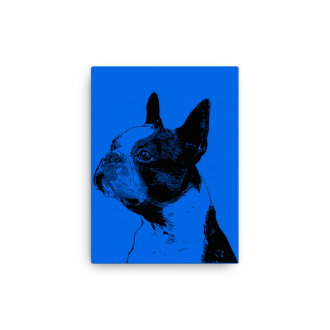 Boston Terrier Duotone Comic Canvas - Blue