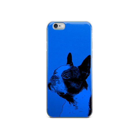Boston Terrier Duotone Comic Blue iPhone 6/6s Case