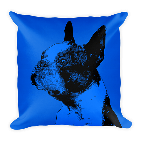Boston Terrier Duotone Comic Blue Decorative Pillow - Front View