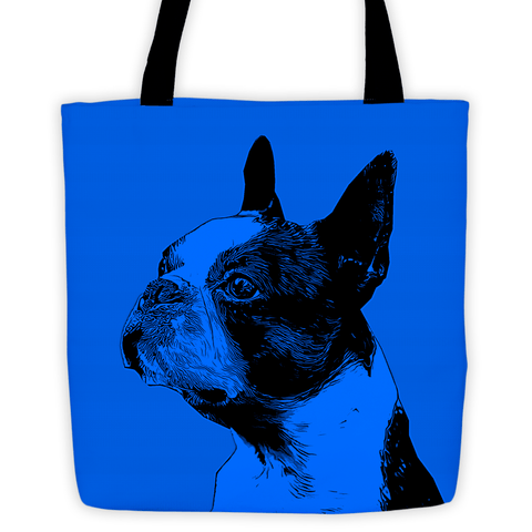 Boston Terrier Duotone Comic Blue All-Over Tote Bag